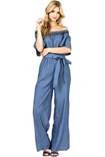 938569d0f89d Flying Tomato Women s Juniors Off The Shoulder Chambray Wide Leg Jumpsuit
