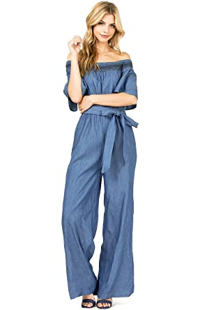 208bc412c1d Flying Tomato Women s Juniors Off The Shoulder Chambray Wide Leg Jumpsuit  (S