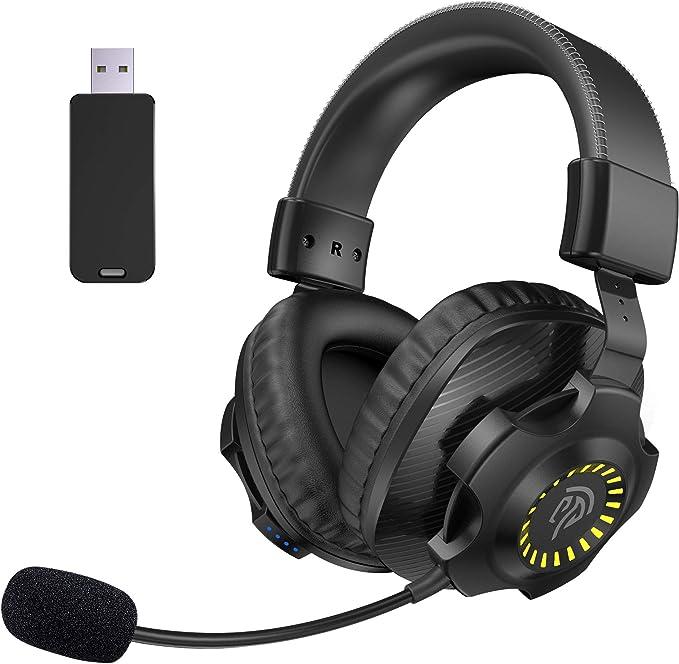 Todo para el streamer: Auriculares Gaming Inalámbricos PS4, [Regalos Originlaes] EasySMX 2.4G Cascos Gaming Inalámbricos Estéreo con Micrófono, Control de Volumen y RGB Luces Para PC, MAC y PS4, Headset Gaming Wireless