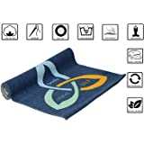 Organic Cotton Yoga Mat - Non Slip - Natural - Eco - Friendly - Non Toxic - Washable - Skin Friendly - Easily Foldable - Anti Bacterial - Biodegradable - Designer - Extra Long 72 x 24 inches