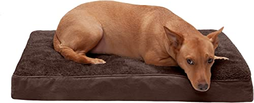 Furhaven Pet Dog Bed Deluxe Therapeutic Traditional Mat Rectangular Step-On Foam Mattress Pet Bed w Removable Cover for Dogs Cats – Available in Multiple Colors Styles