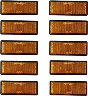 perfk 10 Pack Rectangular Stick-On Reflector for Motorcycles, Trucks,Trailers, RVs and Buses, Orange