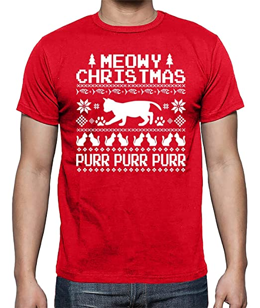 7a9815c4 Meowy Christmas Purr Purr Purr Funny Cute Ugly Christmas Party Tee Men;s  Shirt: Amazon.ca: Clothing & Accessories