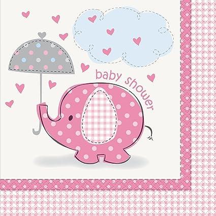 Amazon Com Pink Elephant Girl Baby Shower Napkins 16ct Kitchen