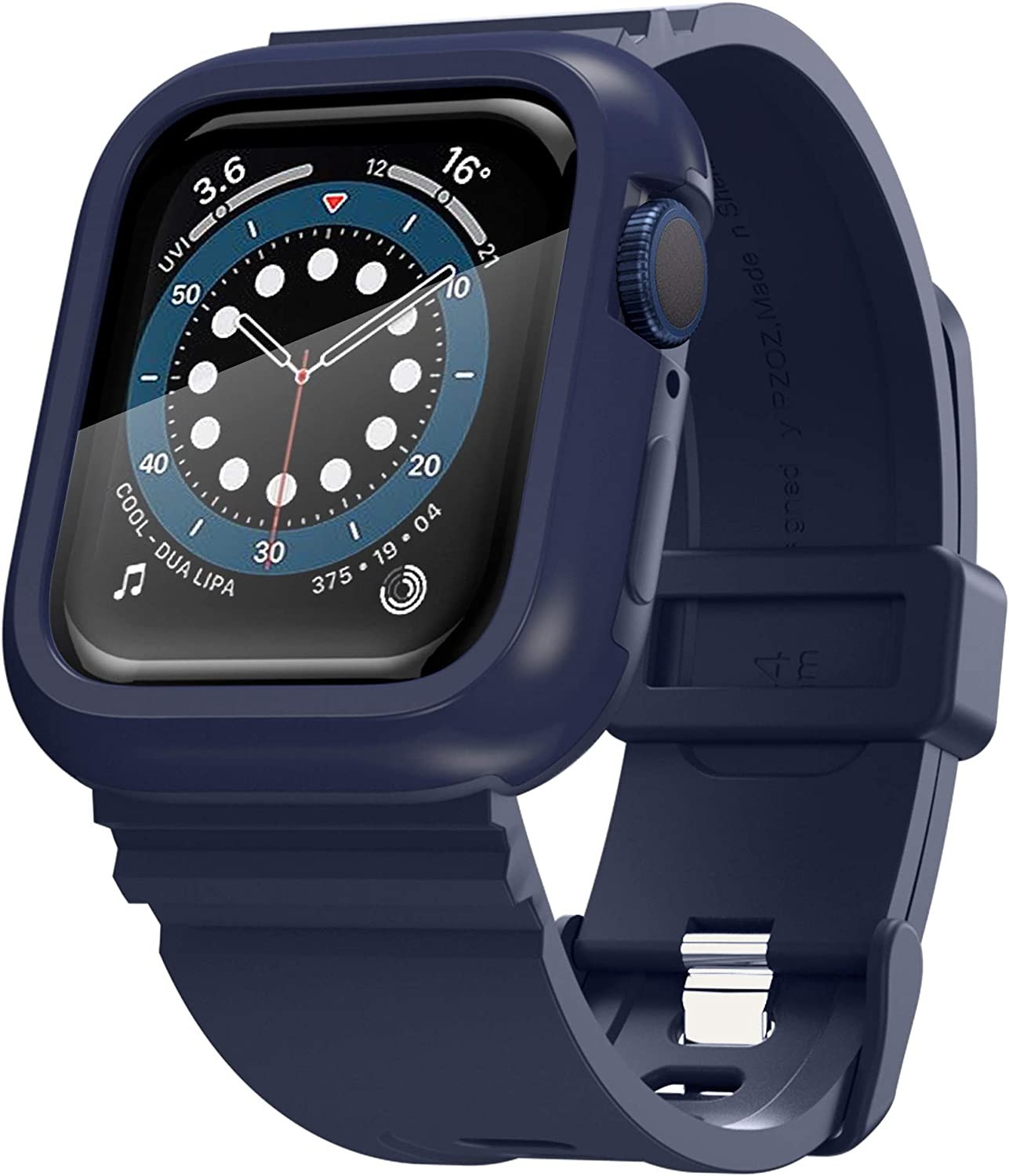 PZOZ Watch Band Case with Screen Protector Compatible for Apple Watch Series SE /4 /5 /6 44mm, Full Coverage Silicone Strap Bumper Defense Cover Edge Accessories for iWatch Women Men (Blue)