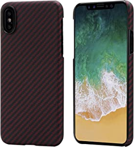 """PITAKA Magnetic Slim Case Compatible with iPhone X 5.8"""", MagEZ Case Aramid Fiber [Real Body Armor Material] Phone Case,Minimalist Strongest Durable Snugly Fit Snap-on Case - Black/Red(Twill)"""