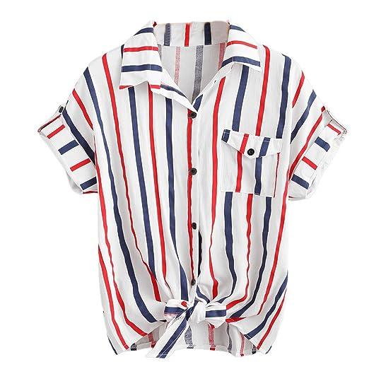 84cbcf85c8759 Women Short Sleeve HGWXX7 2018 Summer Fashion Casual Stripe Short Sleeve  Turn-Down Collar Shirt