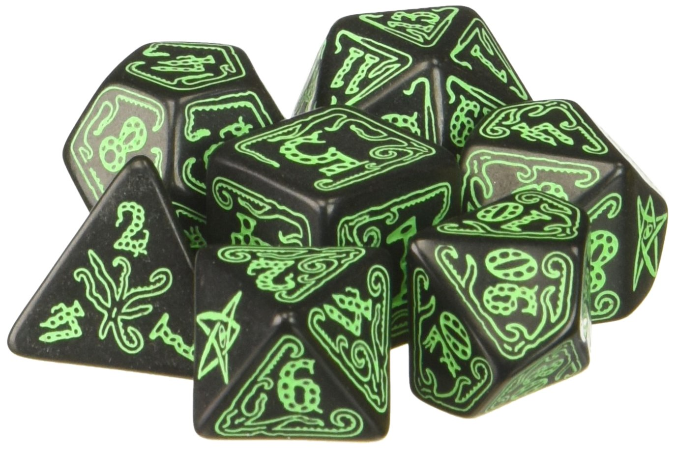 Q Workshop Call of Cthulhu: Black and Green Dice, Set of 7