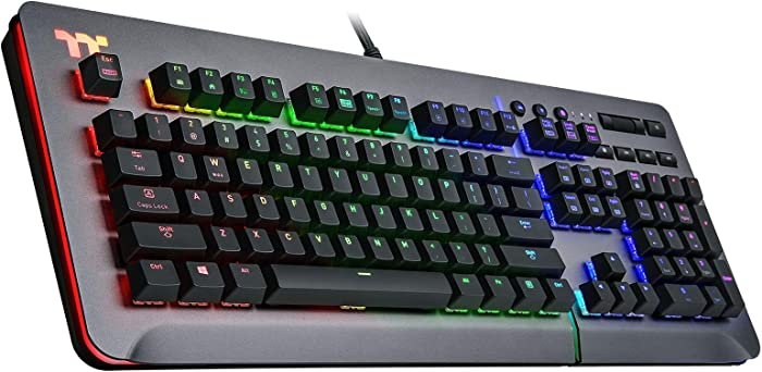 Thermaltake Level 20 RGB Titanium Aluminum Gaming Keyboard Cherry MX Silver Switches, 16.8M Color RGB, 32 color zone options, support Alexa Voice Control, Razer Chroma Sync compatible KB-LVT-SSSRUS-01