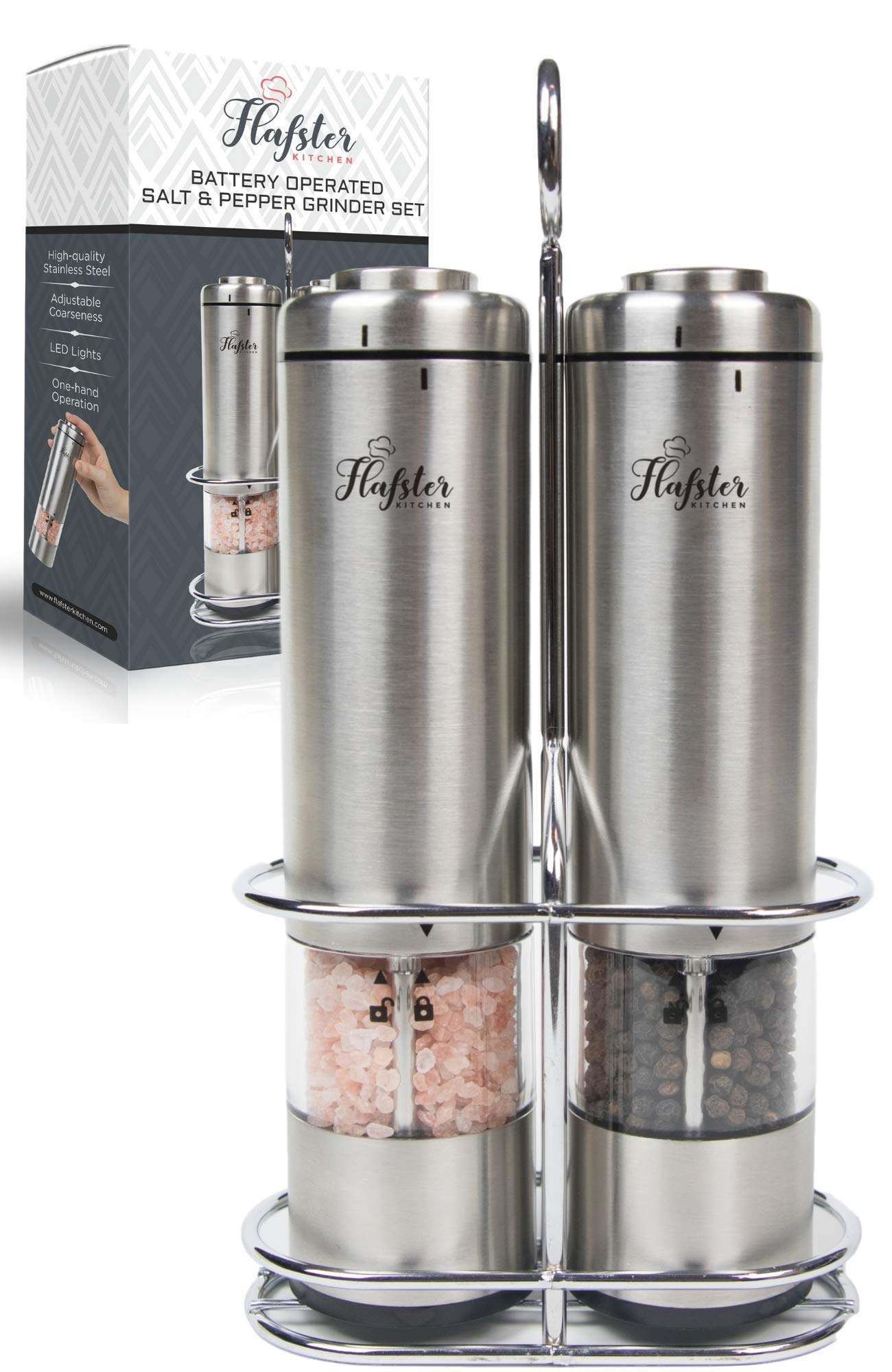 Battery Operated Salt and Pepper Grinder Set - Electric Stainless Steel Salt&Pepper Mills(2) by Flafster Kitchen -Tall Power Shakers with Stand - Ceramic Grinders with lights and Adjustable Coarseness by FLAFSTER KITCHEN