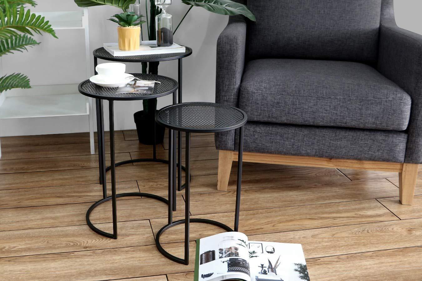 LIFA LIVING Tavolino da salotto moderno set da 3 tavolinetti design a incastro tavolini componibili in metallo nero stile shabby per cucina e soggiorno
