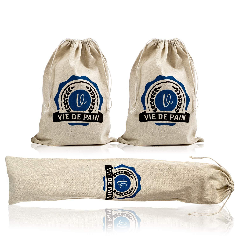 プレミアム100%天然亜麻リネンパン袋 自家製職人パン&再利用可能な食品ストレージ 大型ローフとバゲットサイズ (3パック: 2-11x15インチ 1-28x6インチ) B07PJVWF16