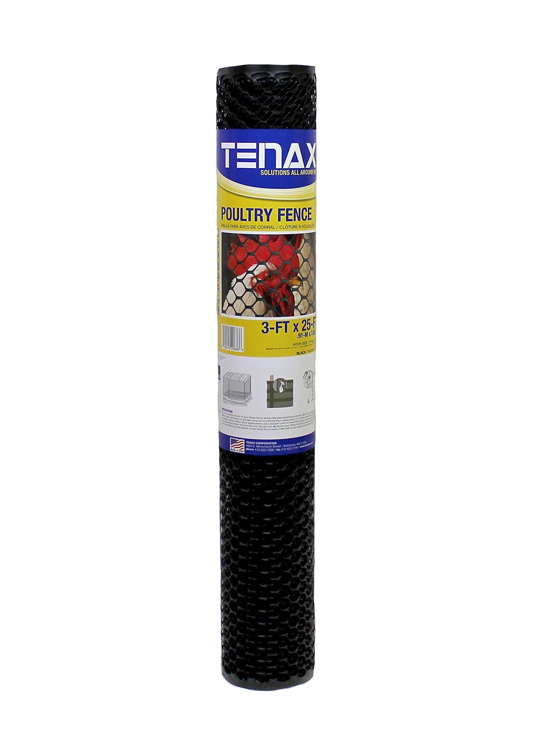 Tenax 72120546 Hex Poultry Fence, 3' x 25' Black by Tenax