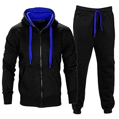 1a6624cc9 Mymixtrendz® Kids Boys Girls Tracksuit Contrast Set Full Sleeve Fleece  Zipper Hoodie Top Bottoms Jogging Joggers Gym School Size 7-13 Year