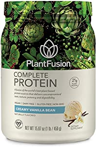 PlantFusion Complete Plant Based Pea Protein Powder | Dietary Supplement |Non-GMO, Vegan, Dairy Free, Gluten Free, Soy Free | Allergy Free w/Digestive Enzymes, Vanilla, 1 Pound