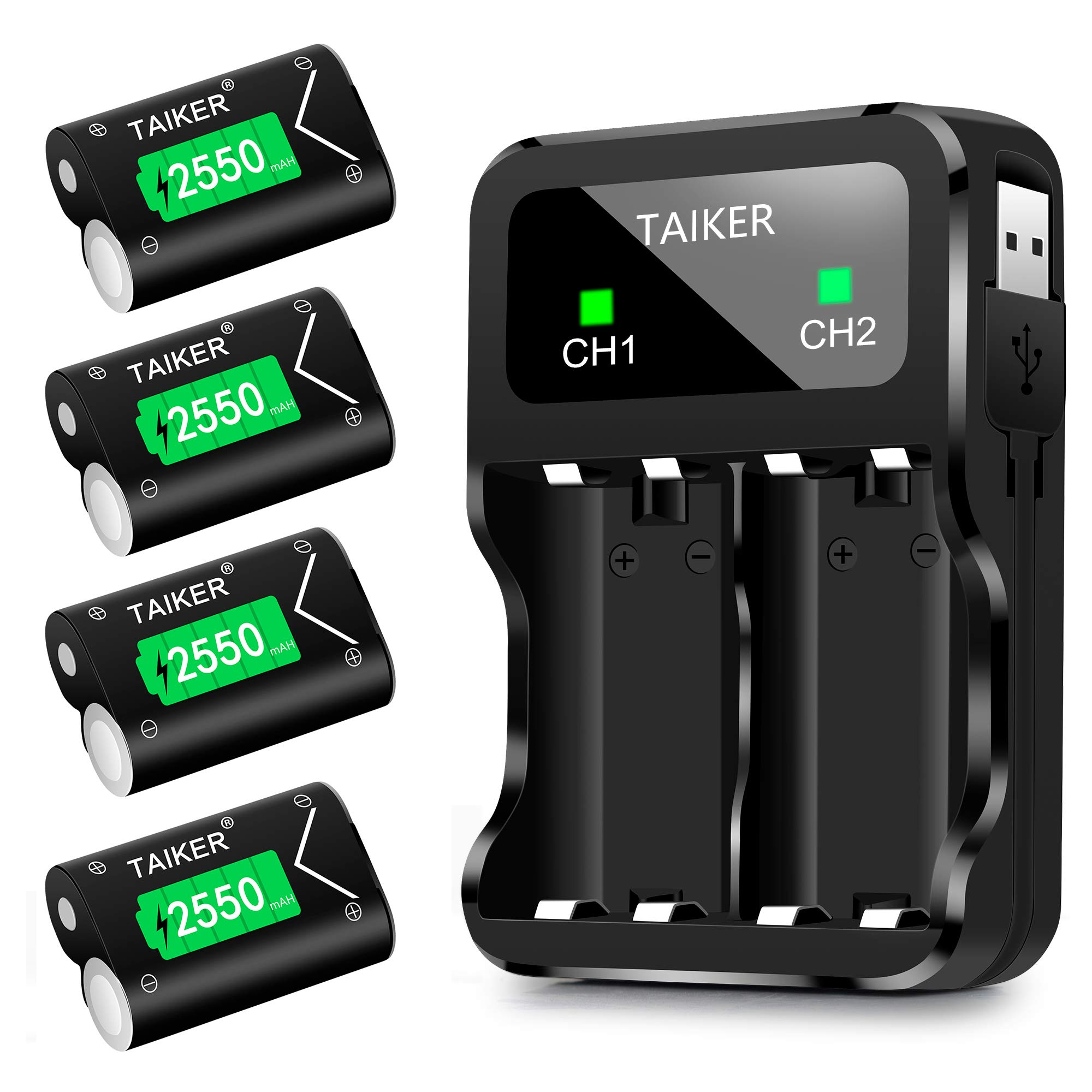 TAIKER Compatible with Xbox One Battery 4 Pack x 2550mAh Rechargeable Controller Battery and Charger for Xbox One/Xbox One S/Xbox One X/Xbox One Elite Wireless Controller by Taiker