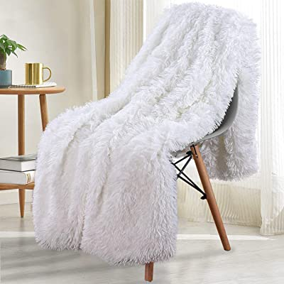 Noahas Shaggy Longfur Throw Blanket with Sherpa Warm Underside, Super Soft, Cozy Large Plush Fuzzy Faux Fur Blanket, Washable Couch or Bed Throws Christmas Trees Decorative, 50x60, Pure White: Home & Kitchen
