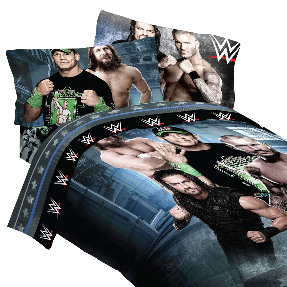 "WWE 4 pc Twin ""Superstars"" Comforter & Sheet Set - John Cena, Daniel Bryan, Randy and Roman"