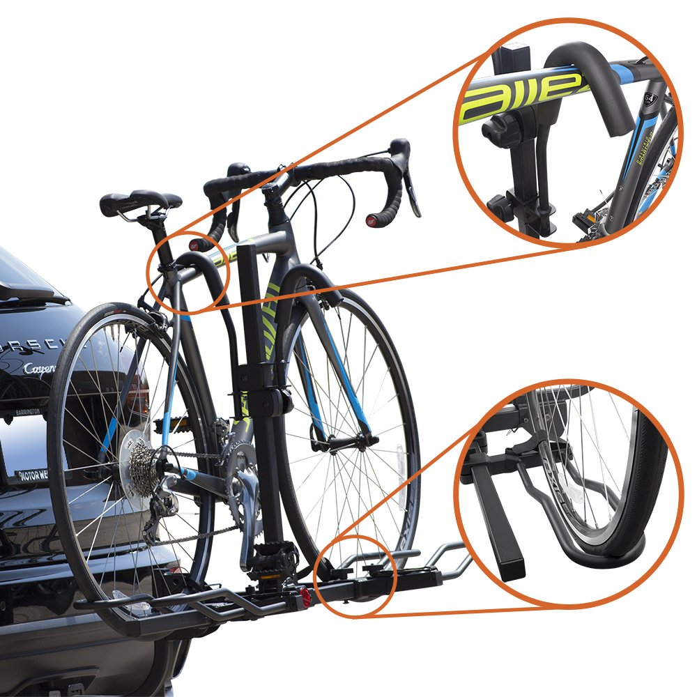 BV Bike Bicycle Hitch Mount Rack Carrier for Car Truck SUV Tray Style Smart Tilting Design