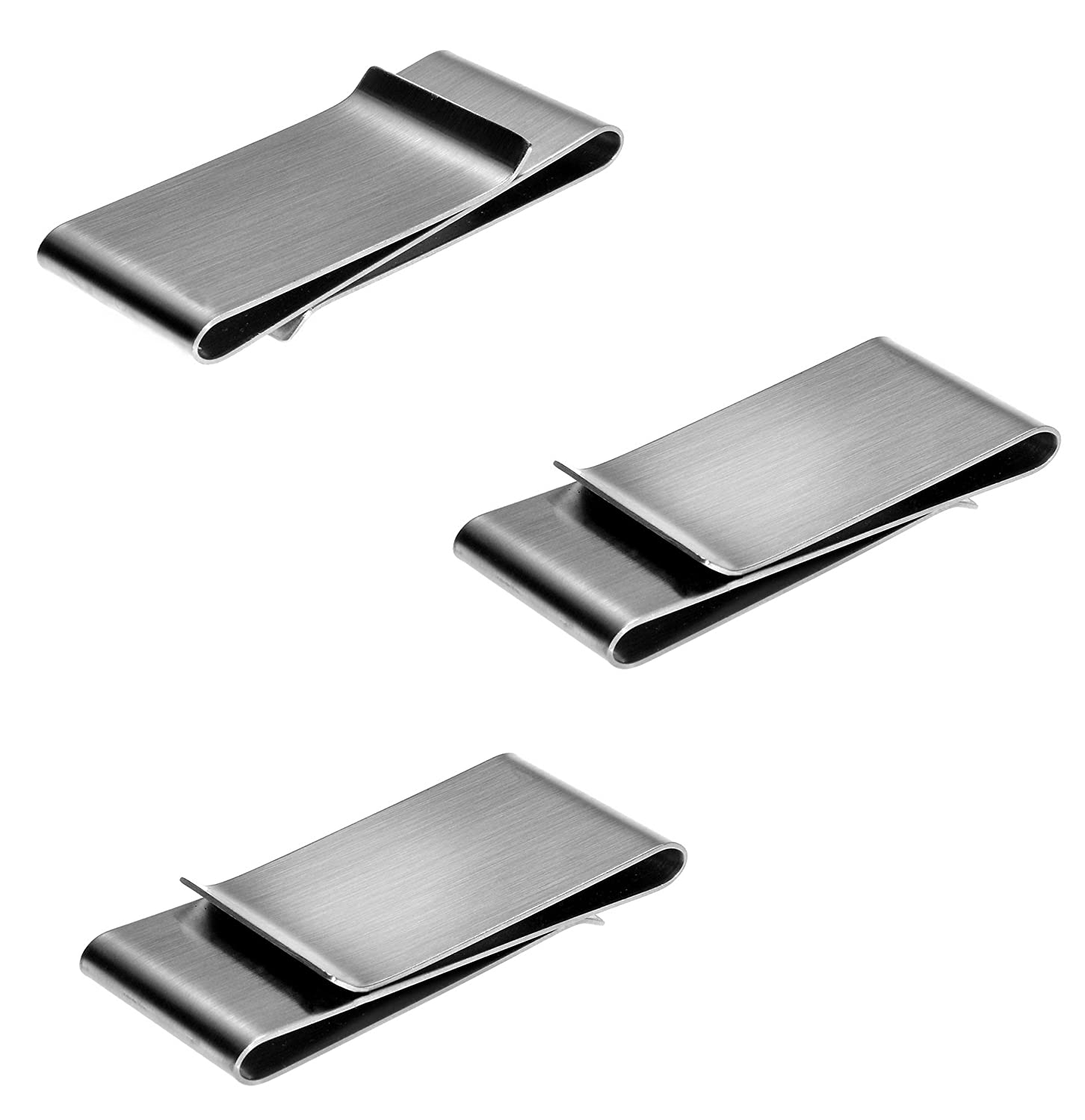 Double Clip Money Clips 3 Pack by JGFinds Stainless Steel Blanks for Engraving or Personalize
