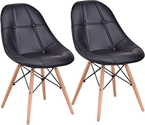 Giantex Leather Dining Chairs Set of 2 PU Upholstered Modern Style Mid-Century Tufted Nailhead Back Wood Legs Armless DSW Side Chair