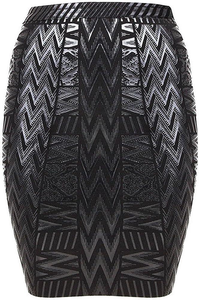 HLBandage Leather Metallic High Waist Bandage Skirt at  Women's Clothing store
