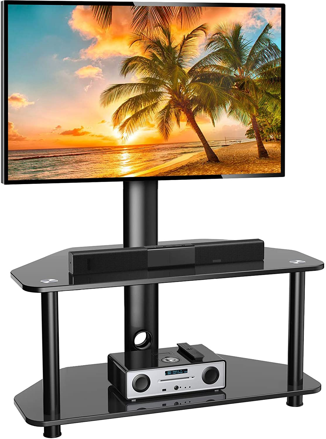 Swivel Floor TV Stand/Base for 32-55 Inch TVs-Universal Corner TV Floor Stand with Storage Perfect for Media-Height Adjustable Entertainment Stand with Tempered Glass&Cable Management, VESA 400x400mm