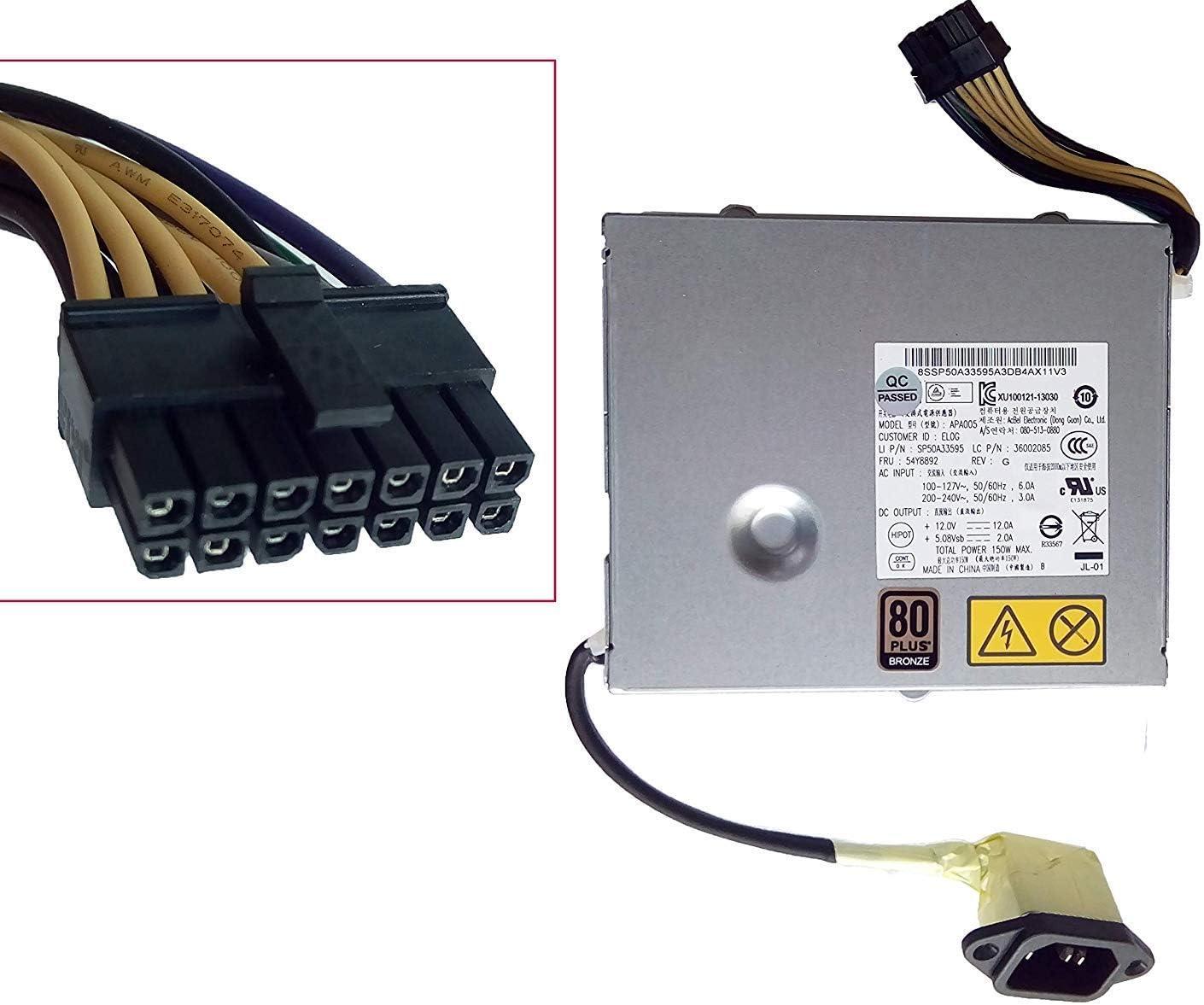150 Watt Power Supply 54Y8892 for Lenovo ThinkCentre Edge M83 M71Z M72Z M73Z M93z 92z AIO PC P/N 36002086 03T9022 FSP150-20Al CHKF1502-3B ompatible Mcbel APA005 (Renewed)