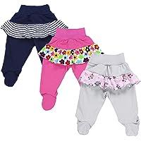 TupTam Pantalón con Pies de Bebé para Niña, Pack de 3