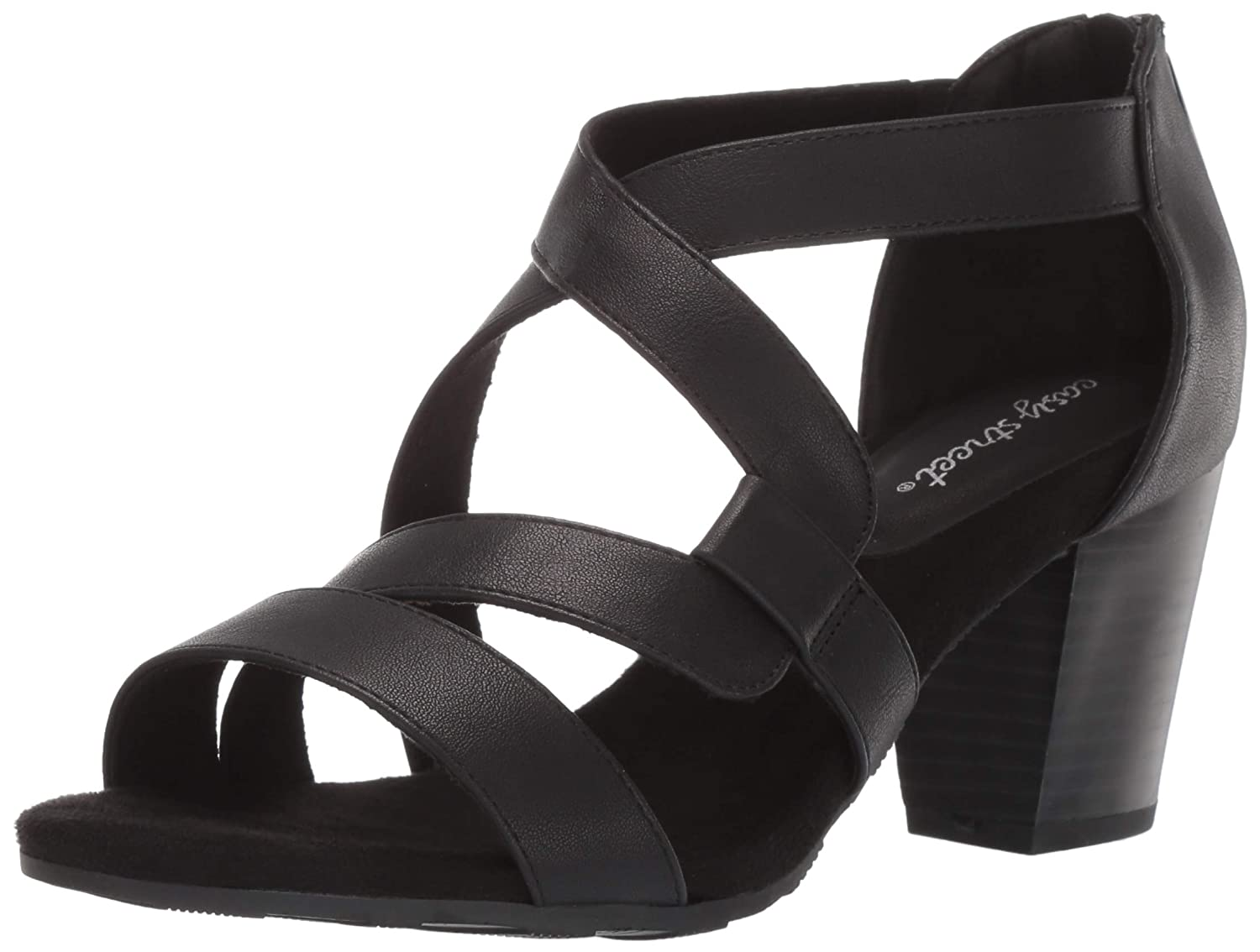 Black Easy Street Womens Amuse Dress Casual Sandal with Back Zipper Heeled Sandal