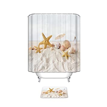 Vandarllin Coastal Beach Themed Bathroom Accessories Set Starfish Sea Shell Fabric Shower Curtain With Rugs