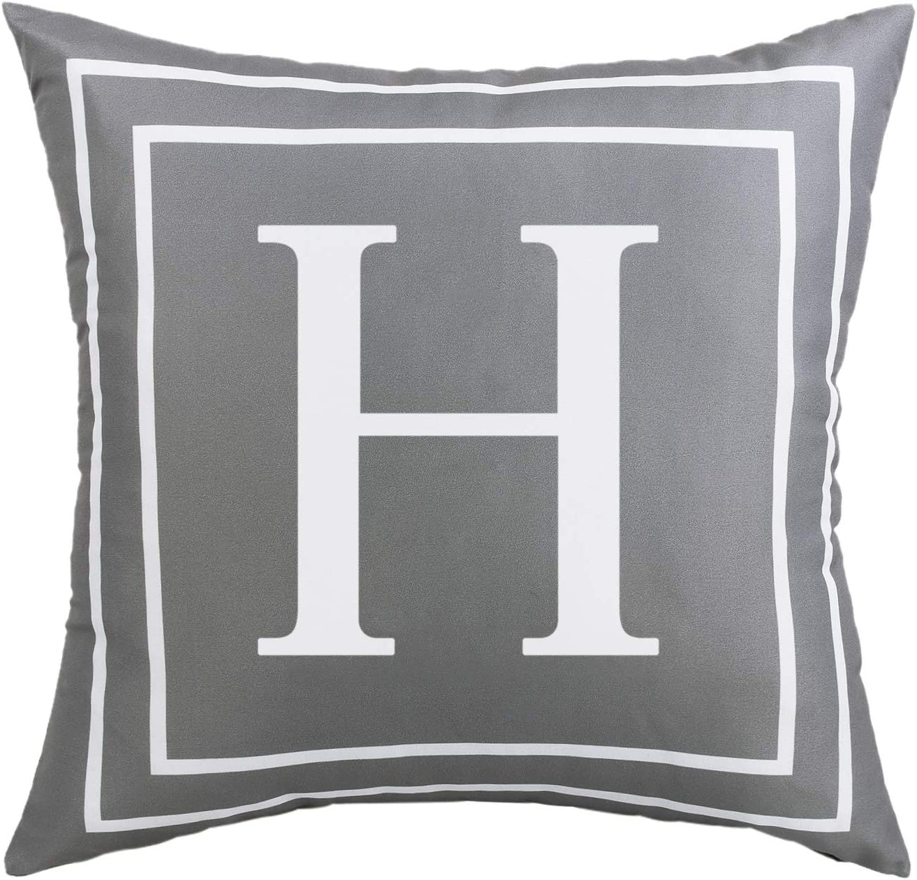 Fascidorm Gray Pillow Cover English Alphabet H Throw Pillow Case Modern Cushion Cover Square Pillowcase Decoration for Sofa Bed Chair Car 18 x 18 Inch