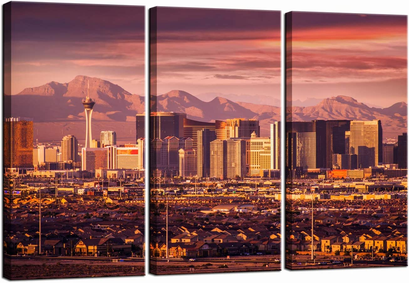 LevvArts 3 Pieces Wall Art Las Vegas Sunset Skyline Pictures Prints on Canvas Urban Landscape Painting Modern Living Room Wall Decor Gallery Wrap Ready to Hang