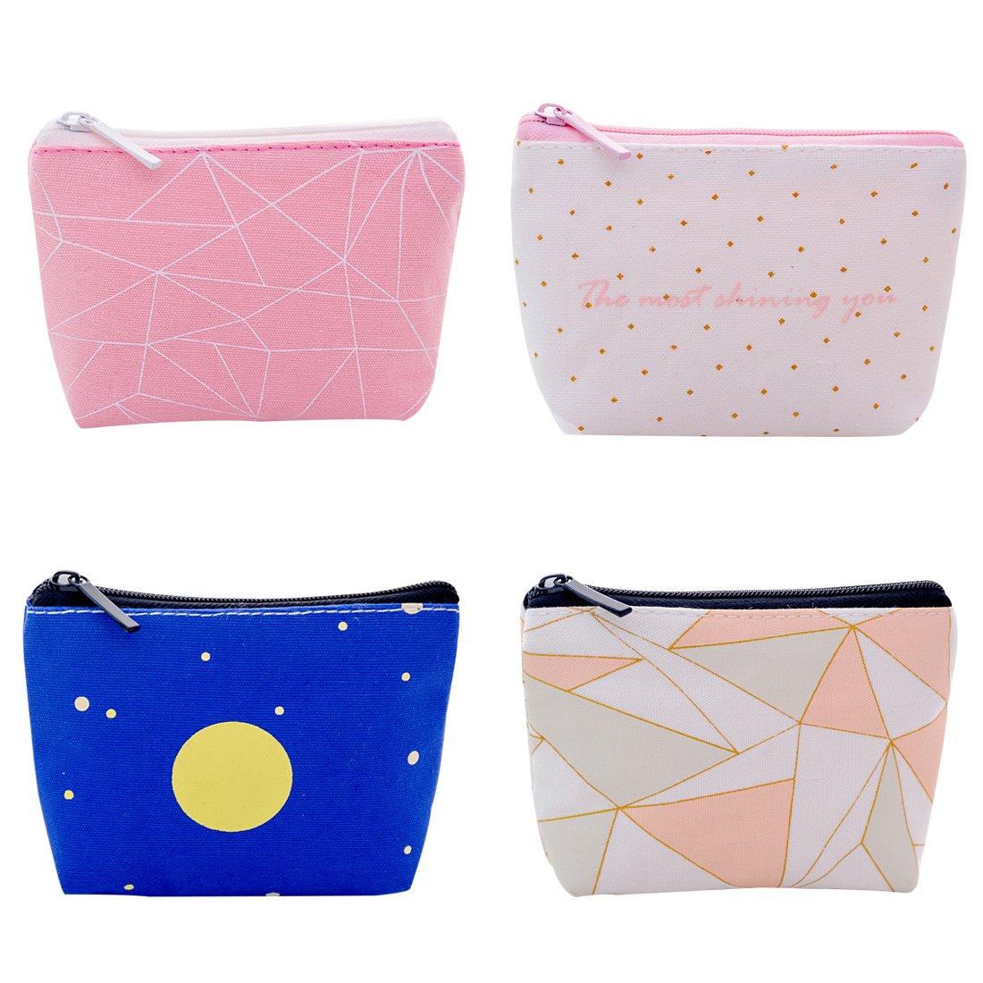 iSuperb Pack of 4 Coin Purse Change Cash Bag Zipper Mini Wallet Bag (PU leather Animal)
