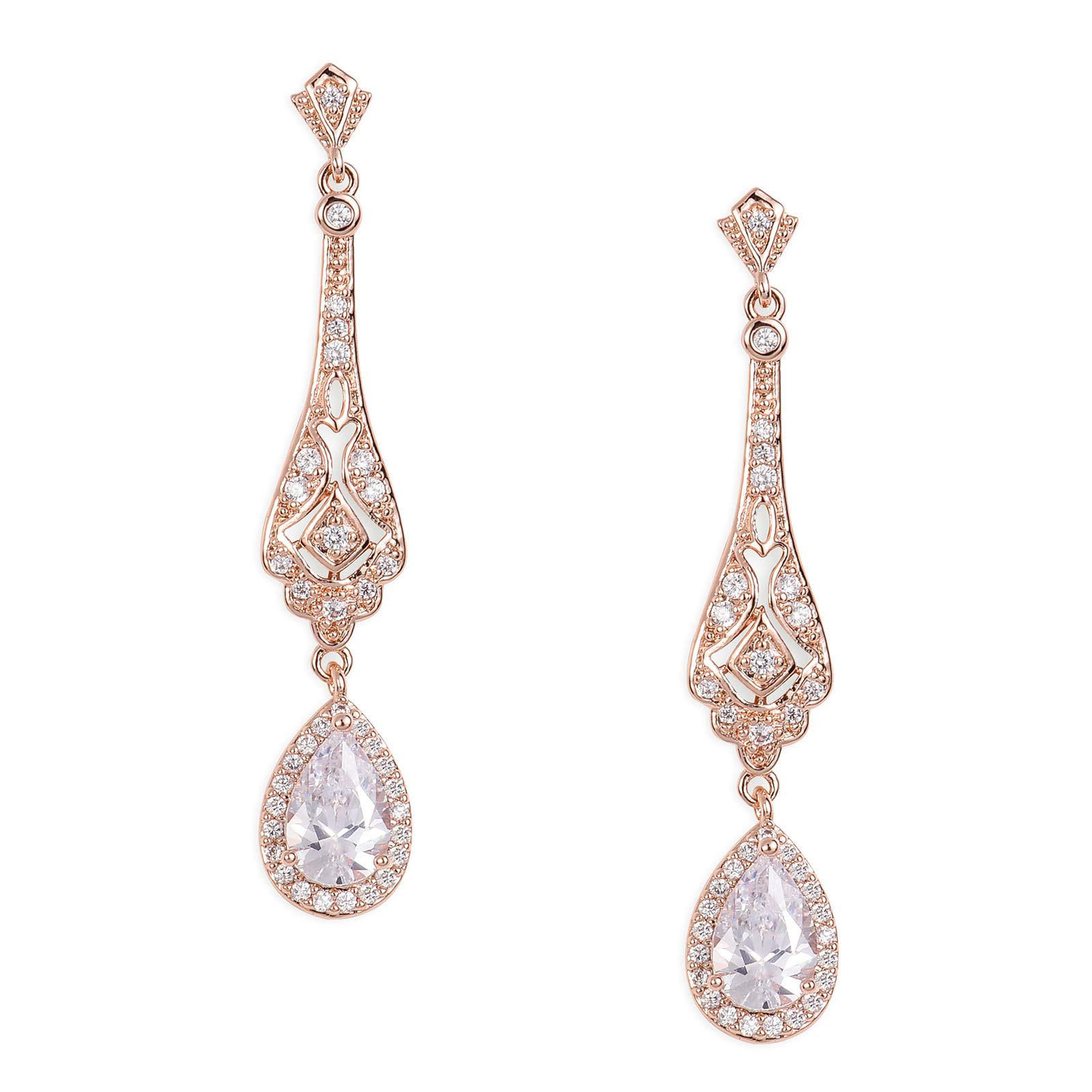 SWEETV Slender Teardrop Cubic Zirconia Vintage Dangle Earrings Rose Gold-Bridal Wedding Style Jewelry for Women Brides,Bridesmaids by SWEETV (Image #1)