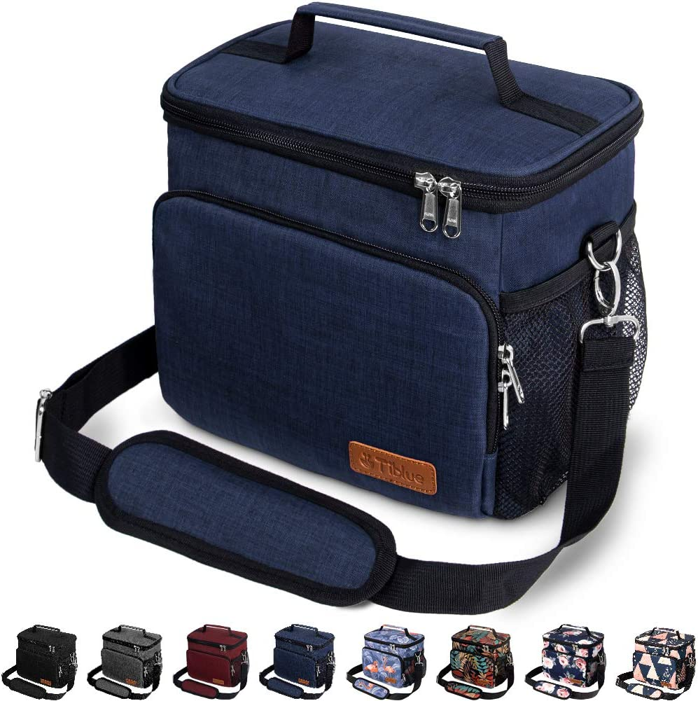Insulated Lunch Bag for Women/Men - Reusable Lunch Box for Office Work School Picnic Beach - Leakproof Cooler Tote Bag Freezable Lunch Bag with Adjustable Shoulder Strap for Kids/Adult - Navy Blue