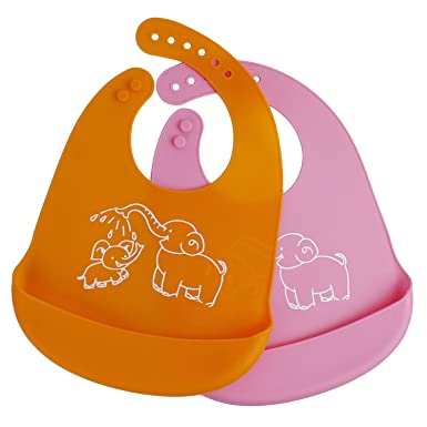 1c45a3edc95 EMORCO Waterproof Silicone Baby Bibs for Infants and Toddlers
