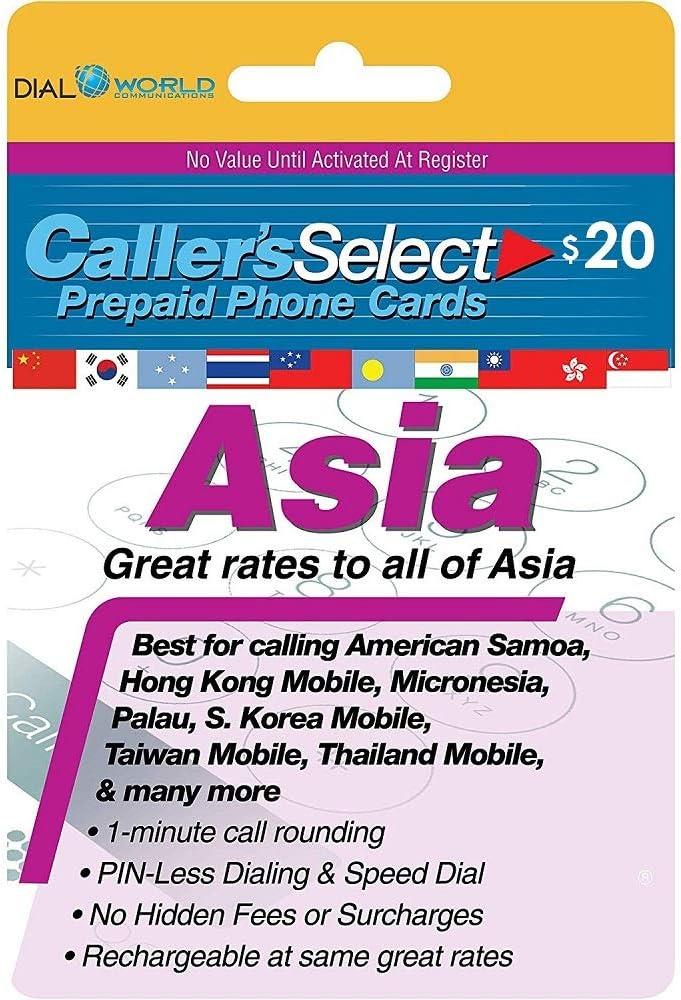 $20 Caller's Select Asia Phone Calling Card Calls to The India, South Korea, Thailand, China, Taiwan, Pakistan, Hong Kong, Indonesia, Singapore, Laos, Malaysia, Vietnam and Many More.