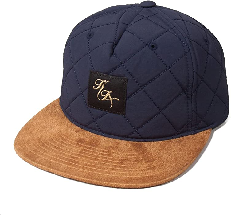 f0b6d29a02241 King Legacy Quilted Navy Tan suede Snapback Flat Peak Baseball Hat Cap   Amazon.co.uk  Clothing