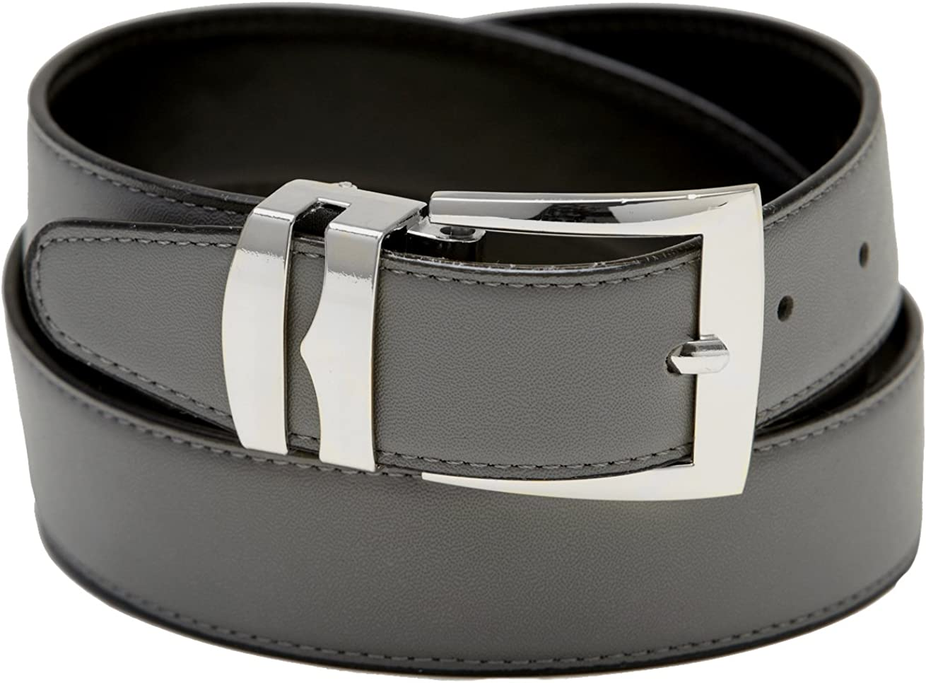 Mens Belt Reversible Wide Bonded Leather Silver-Tone Buckle BLACK//Charcoal