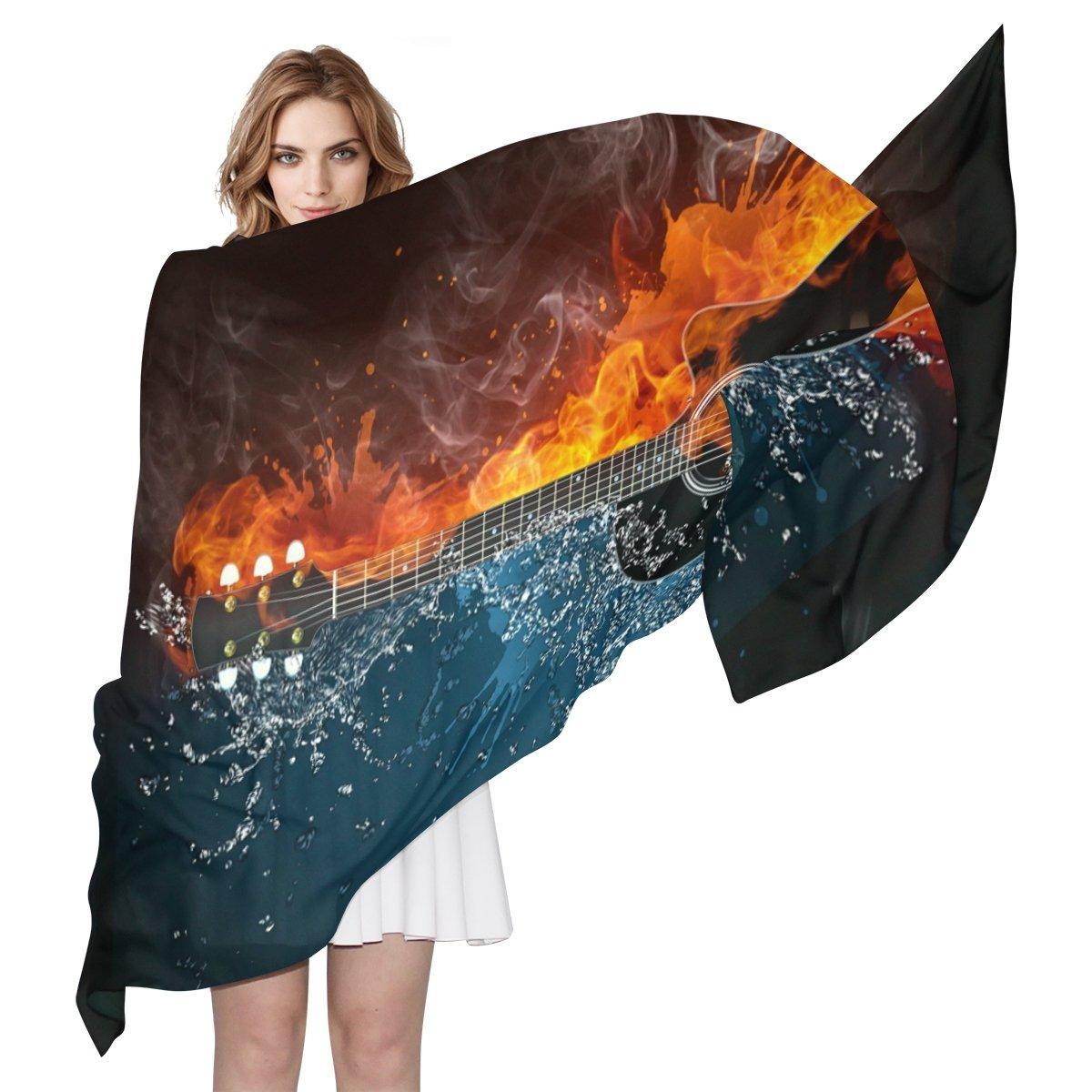 COOSUN Guitarra eléctrica del fuego y del agua Ligera bufanda de seda largo de la bufanda del abrigo del mantón de la Mujer 90x180?