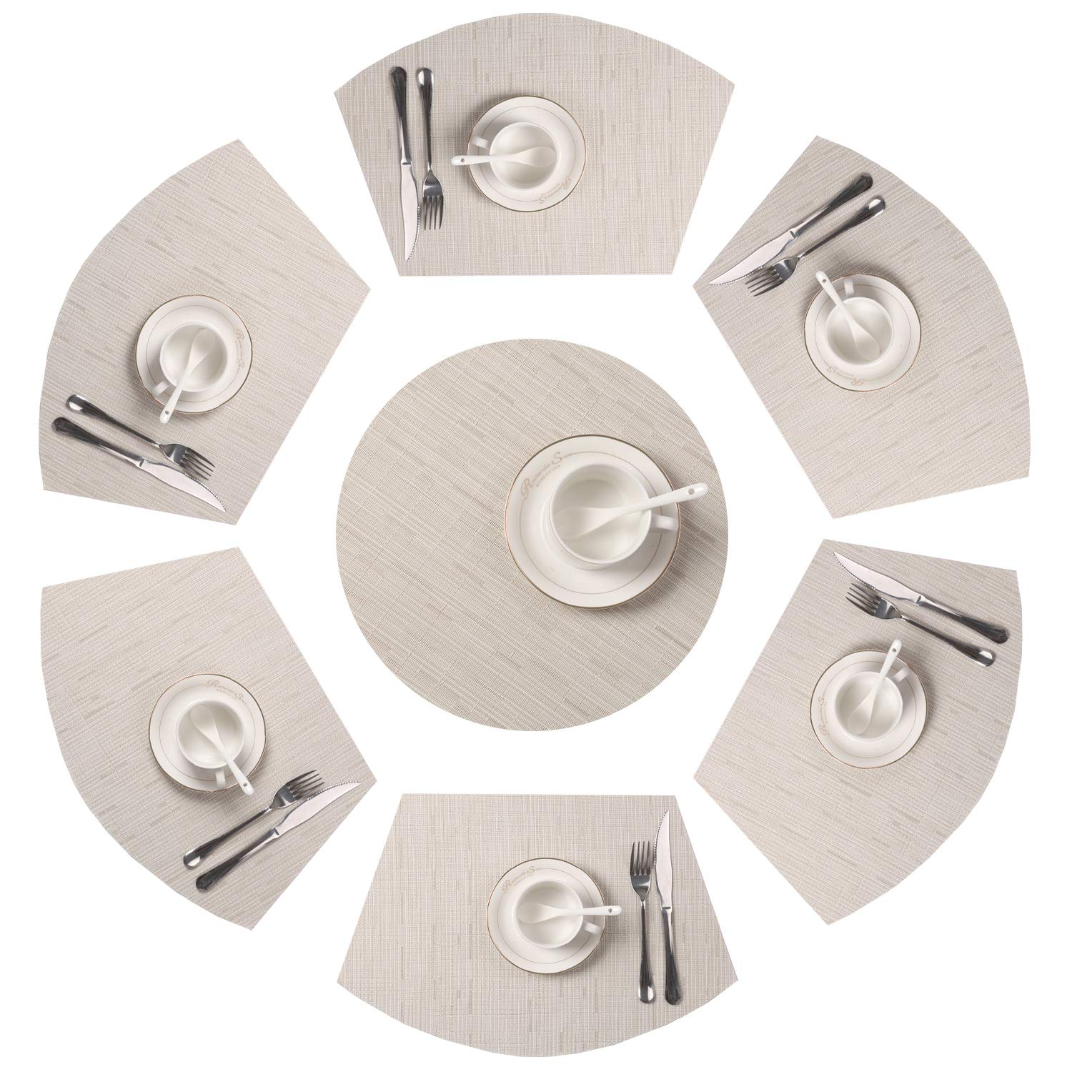 SHACOS Round Table Placemats Set of 7 Wedge Shaped Place Mat with Centerpiece Round Mat PVC Heat Resistant Table Mats Washable (7, Beige)