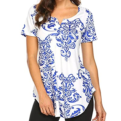 Miskely Women's Paisley Printed Short Sleeve Blouses V Neck Pleated Ruffle Casual Tunic Tops Shirt at Women's Clothing store