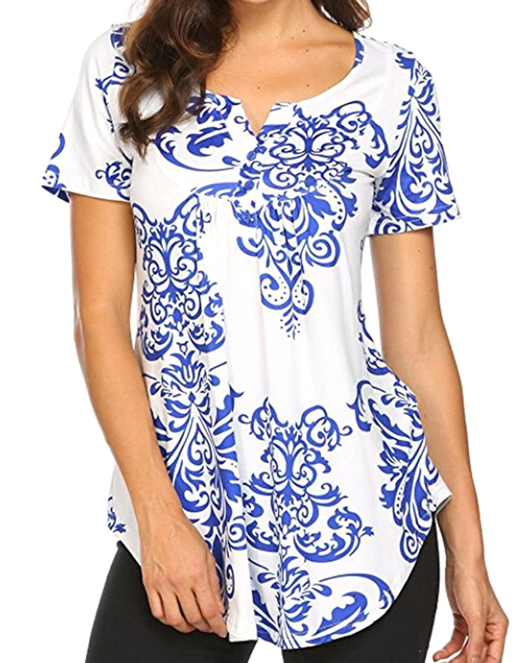 Kimiee Women's Paisley Printed Short Sleeve Henley V Neck Casual Tunic Tops Blouse