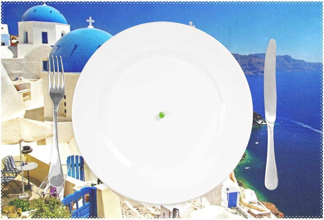 Polyester Table Set de table pour salle /à manger de cuisine Lot de 4 LIANCHENYI Impressionnante Santorin Gr/èce Paysage r/ésistant /à la chaleur Sets de table