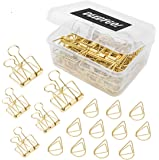 15 Pcs Wire Binder Clips and 65 Pcs Cute Paper Clips, DEEDYGO Assorted Sized Gold Stainless Wire Office Clips with…