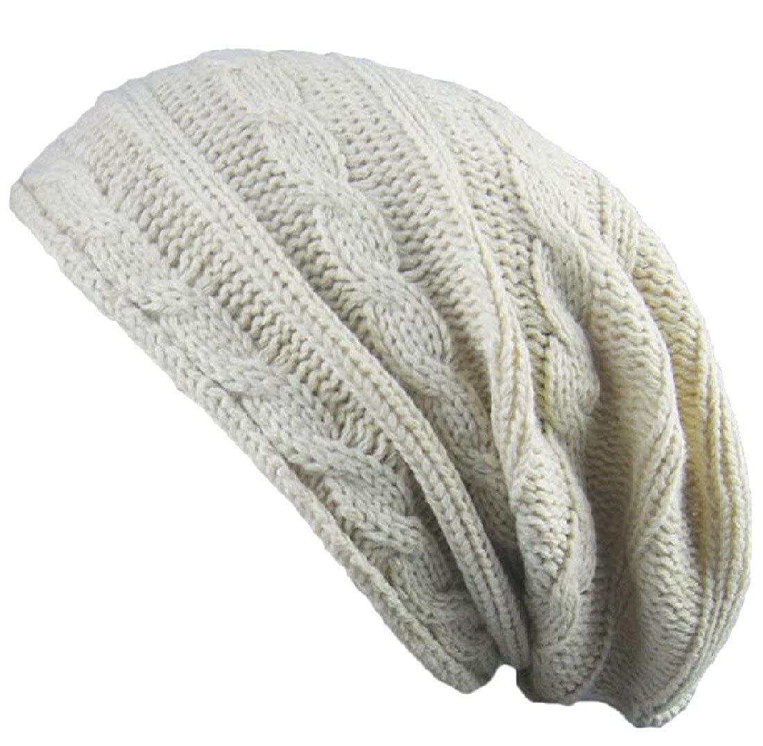 Amazon.com  Doufine Men Warm Hippie Knit Solid Colored Slouchy Beanie Hat  Skull Cap OS Beige  Clothing e704e204aa8