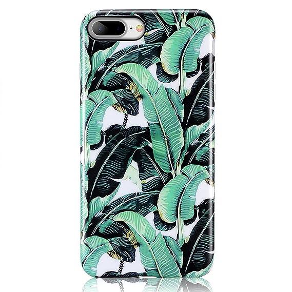 competitive price fb57c 096ad iPhone 7 Plus Case, iPhone 8 Plus Case, Leminimo Banana Leaf Slim Fit Full  Protection Anti Shock Design TPU Flexible Case for iPhone 7 or 8 Plus [5.5  ...