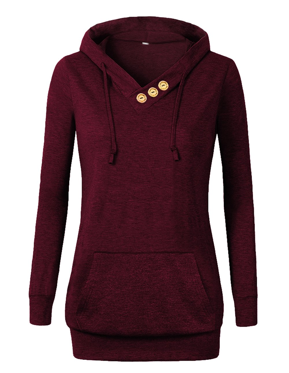 VOIANLIMO Women's Sweatshirts Long Sleeve Button V-Neck Pockets Pullover Hoodies Burgundy XL