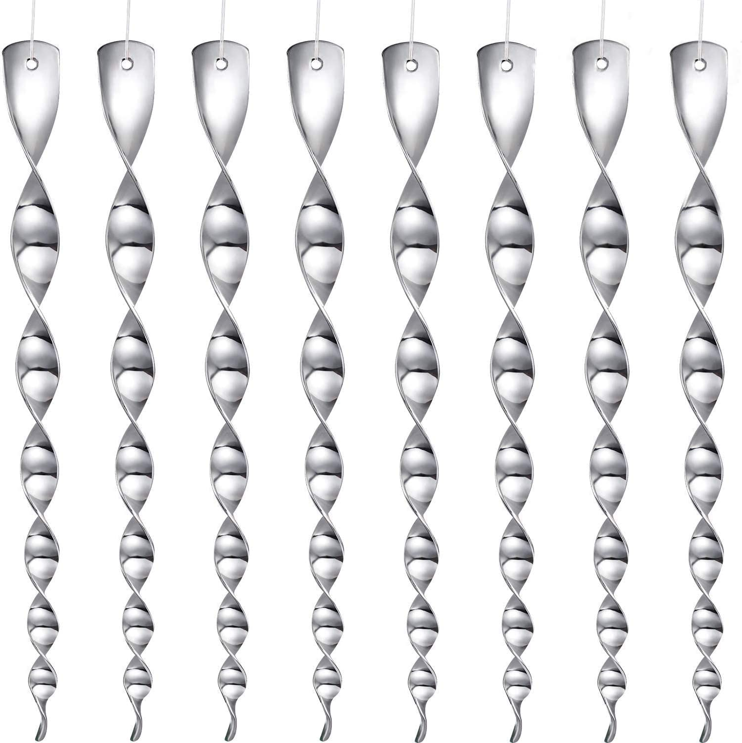 Maitys 16 Pack Bird Wind Twisting Reflective Scare Rods 12 Inch Effective and Attractive Hanging (Silver)